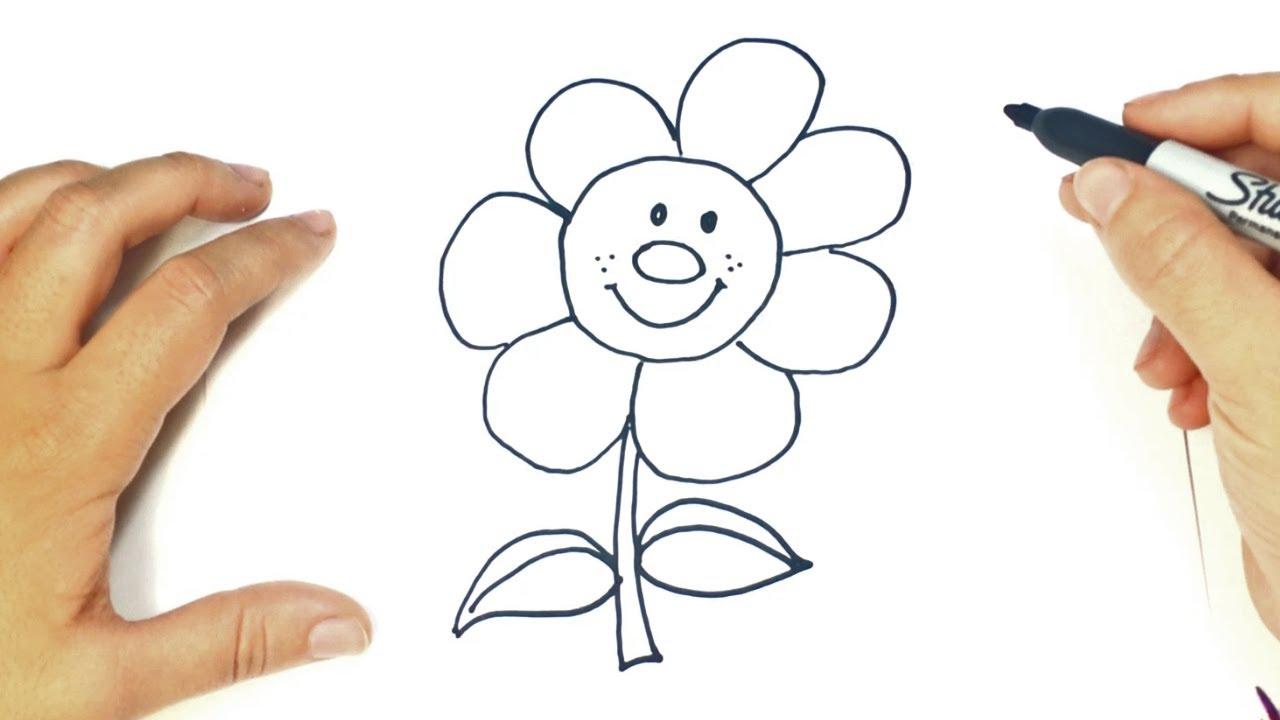 Cómo Dibujar Una Flor Paso A Paso Dibujo Fácil De Flor Para Niños