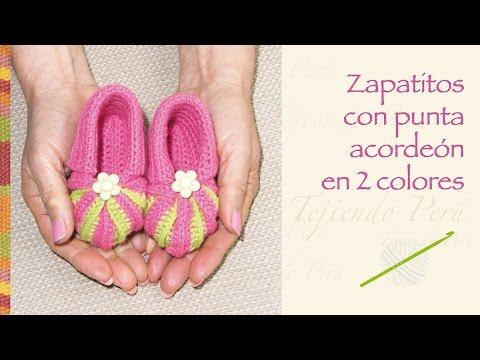 Zapatos con punta acordeón en 2 colores tejidos a crochet para bebés ...