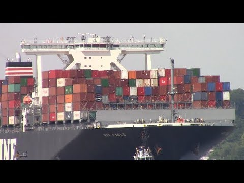 Ultra Large Container Ship NYK EAGLE On Elbe River - Hamburg, Germany