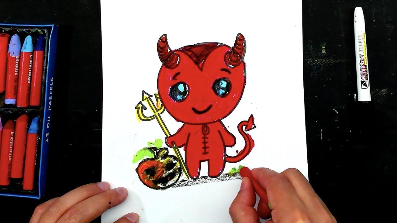 ЧЕРТЕНОК на Хэллоуин / урок рисования для детей - YouTube
