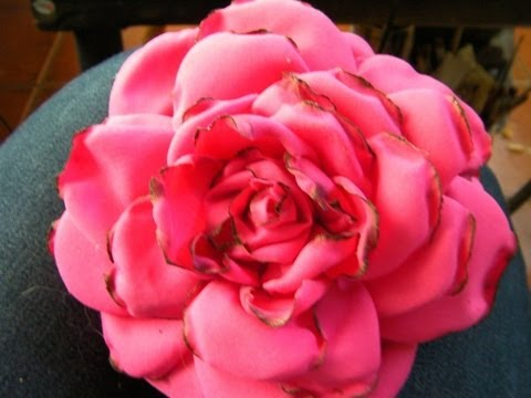 Rosa de tela flor hecha a mano rosa de flamenca origami facil youtube - Flores de telas hechas a mano ...