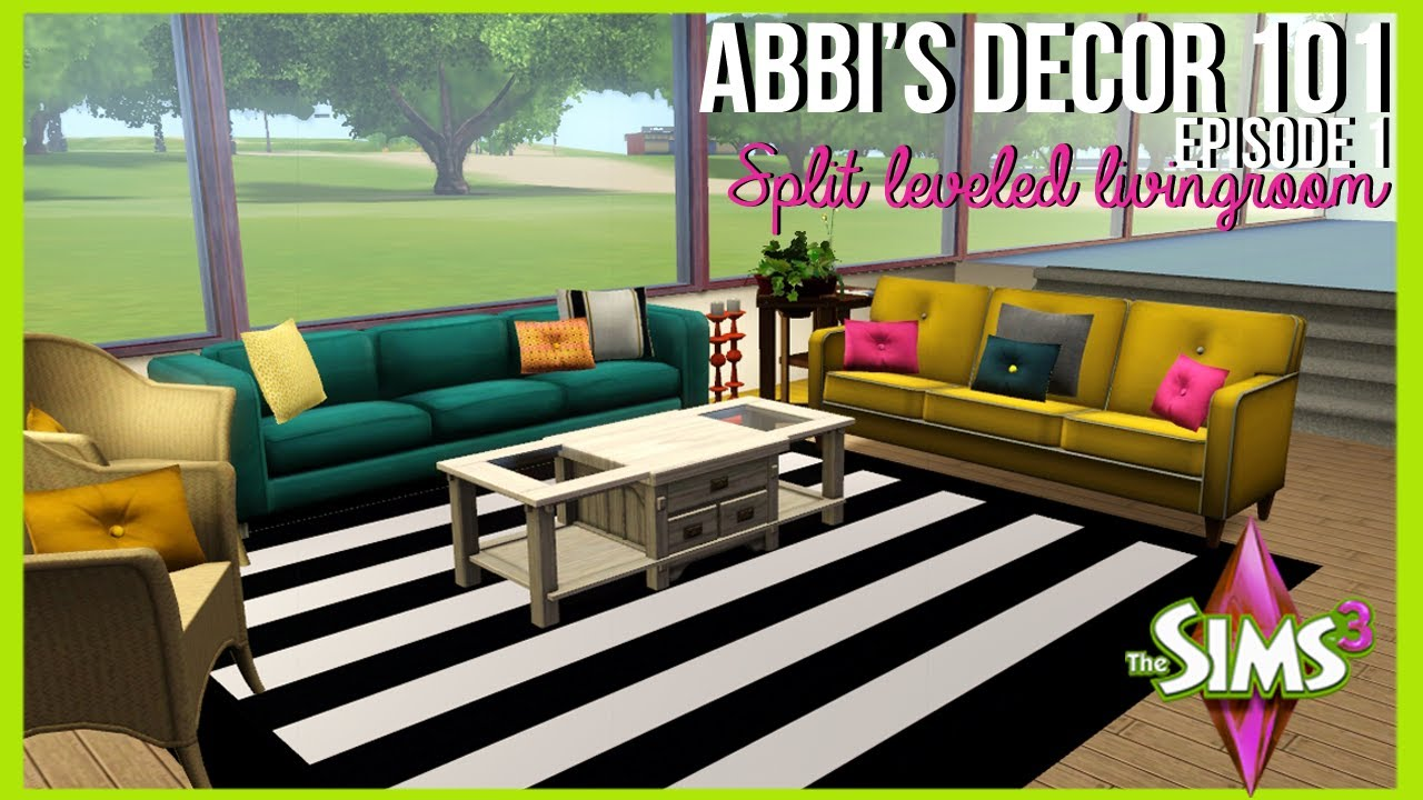 Abbi 39 s d cor 101 split level living room the sims 3 for Sims 3 living room ideas