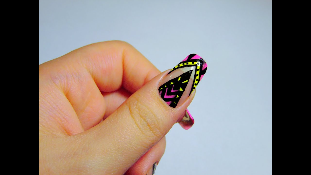 Easy Intricate Neon/Yellow Nail Art - YouTube