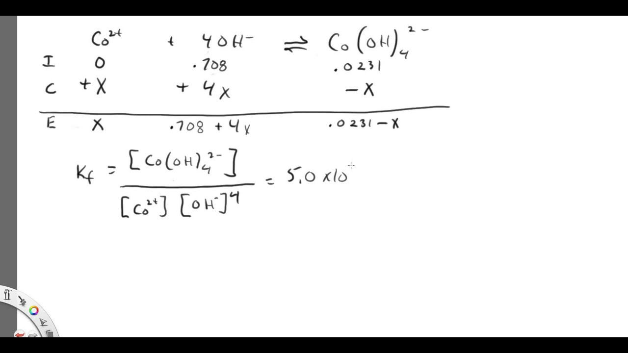 Co  Ii  Complex Ion Equilibrium Concentration Calculation