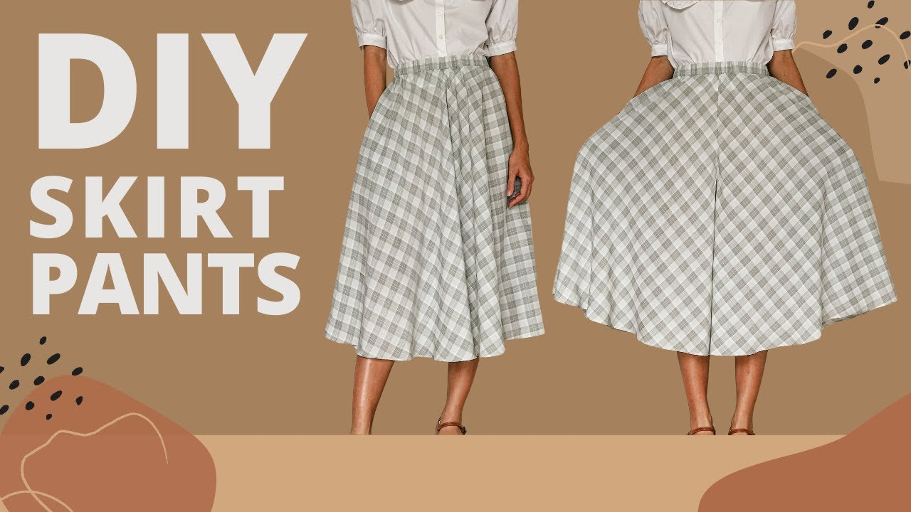 DIY SKIRT PANTS (with side pockets) | Step by step sewing tutorial