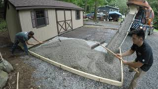 Pouring a concrete pad infront of a shed