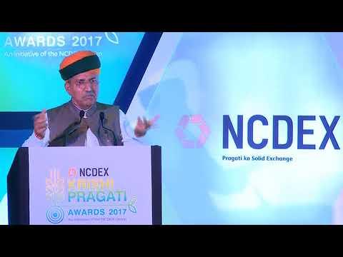 Shri Arjun Ram Meghwal, Hon'ble Minister of State speaking at NCDEX Krishi Pragati Awards 2017