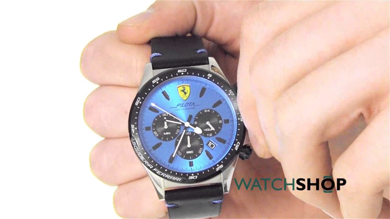 Scuderia ferrari men's pilota chronograph watch (0830388) youtube.