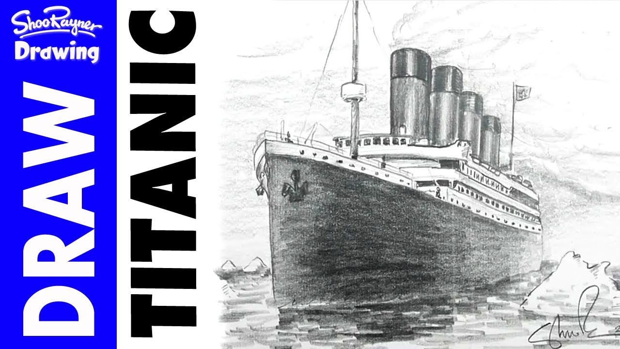 how to draw the titanic in pencil youtube