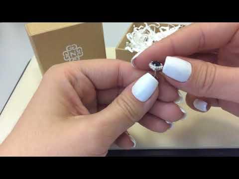 Серьги-пуссеты 2361 из белого золота 585 пробы с сапфирами и бриллиантами