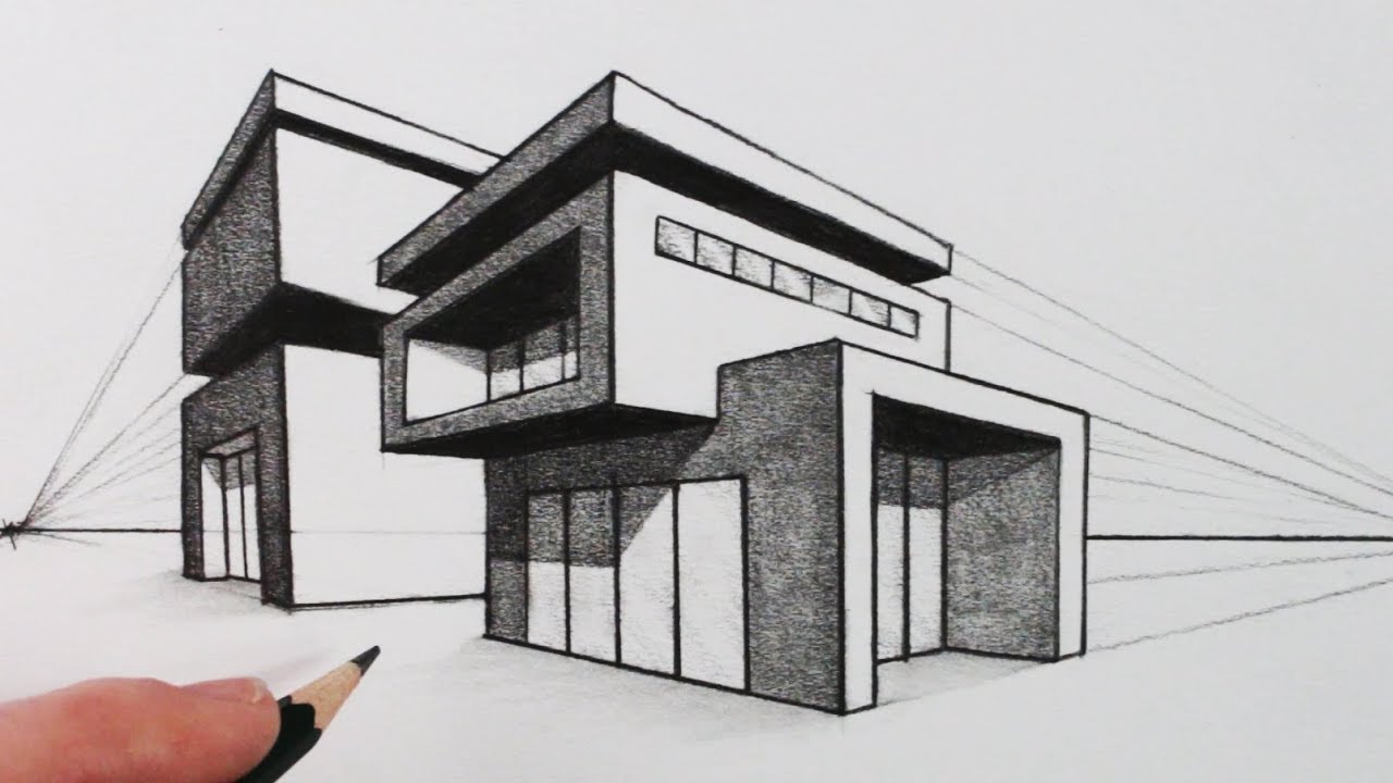 How to draw a house in two point perspective modern house for House drawing easy