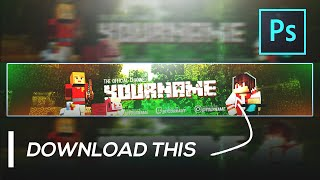 Minecraft Banner Template FREE GFX | YouTube Gaming Channel Art Template | FREE
