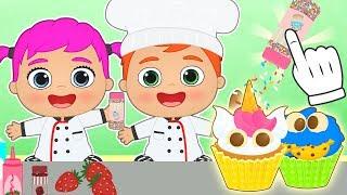 BEBES ALEX Y LILY Aprende a hacer cupcakes con los Bebes 🥣 Juegos y dibujos animados de Cocina