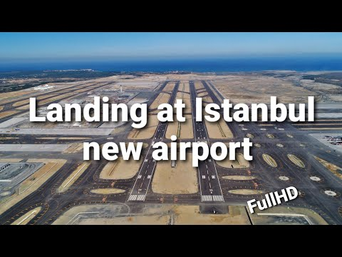 Approach and landing at Istanbul new airport 4K cockpit video