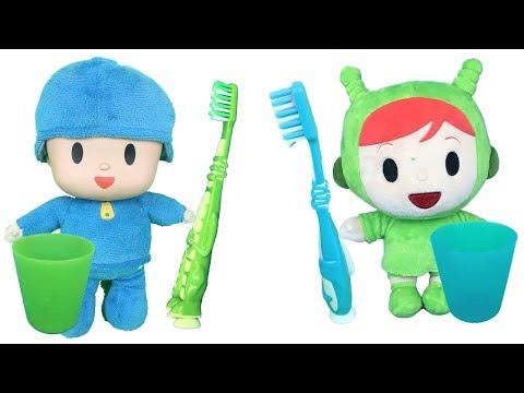 Pocoyo y nina en español se lavan los dientes y aprenden los colores en ingles.Videos de juguetes