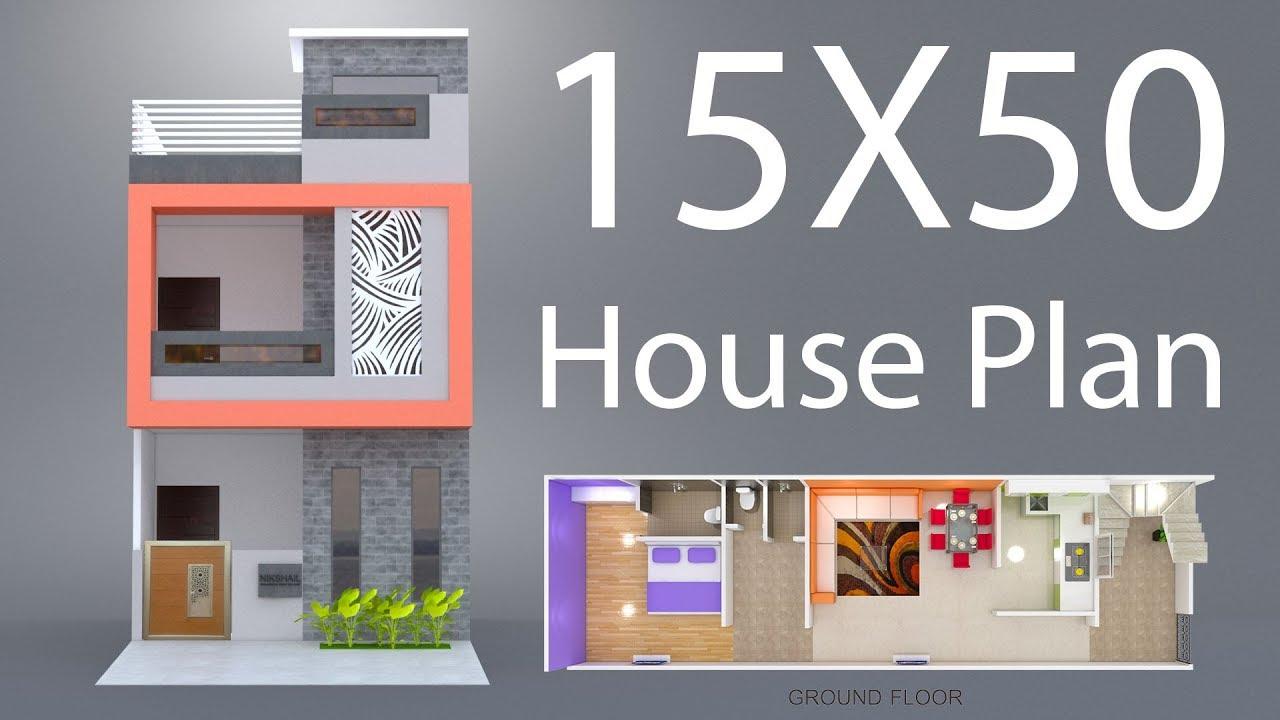 15X50 House plan with 3d elevation nikshail