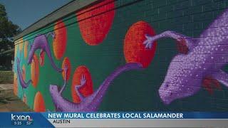 Artist debuts mural celebrating salamanders at Austin school