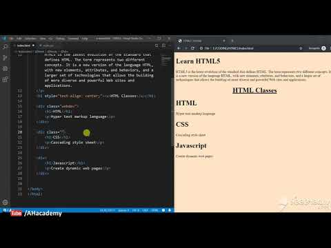 HTML Classes - HTML 5 Tutorial | AH Academy | thumbnail