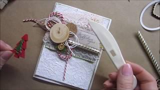 Скрапбукинг / МК / новогодняя открытка с фоном из фольги