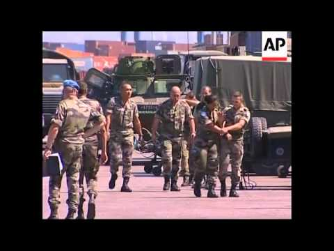 WRAP French troops unloading in Beirut port, Russian troops arriving