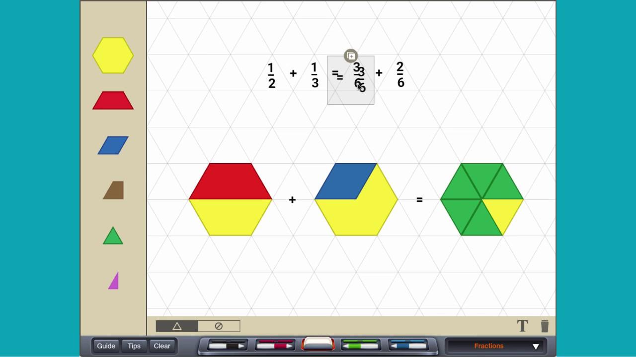 Adding Fractions (unlike Denominators)  With Pattern Blocks