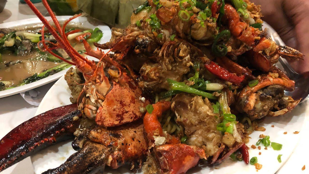 đi ăn đại tôm hùm khủng. Mì xào lobster với rượu XO. - YouTube