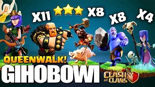 How to QueenWalk GiBoWitch - GiHoBoWitch | TH10 3 Star Attack | TH10 War Strategy Clash of Clans coc