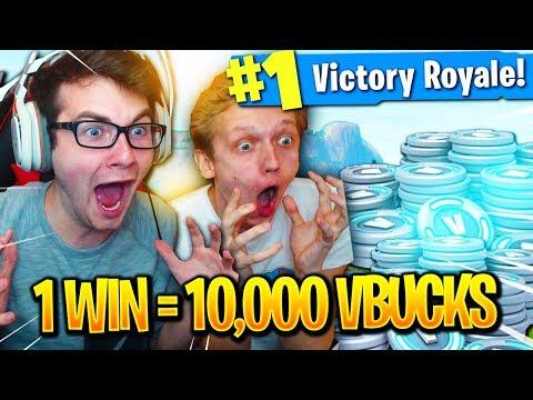 1 WIN = 10,000 VBUCKS WITH MY ROOMMATE on FORTNITE BATTLE ROYALE! (INSANE)