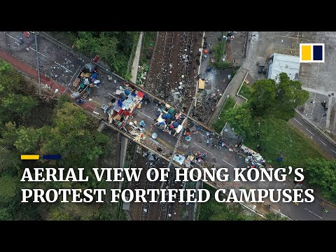 A bird's-eye view of Hong Kong universities turned into fortresses during protests
