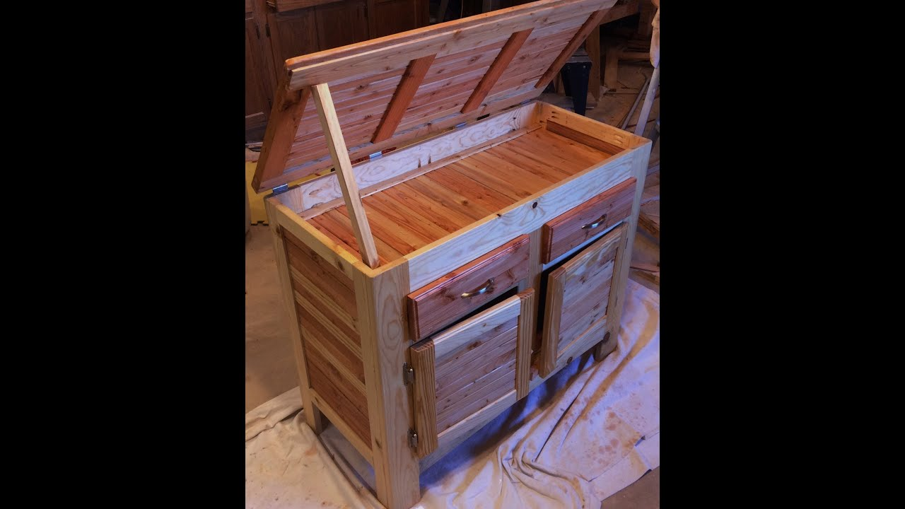 Pallet Wood Cabinet With Hidden Compartment Lid Drawers