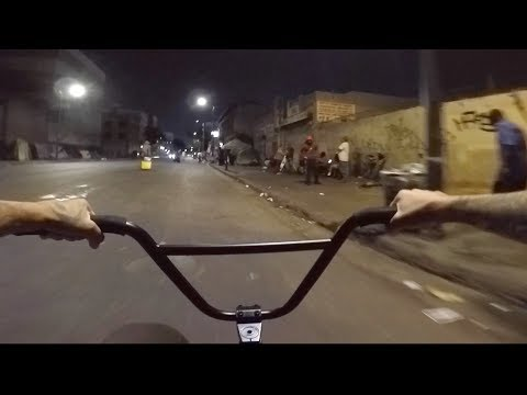 BMX THROUGH SKID ROW AT NIGHT
