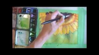 paint a sunflower in watercolor part 3 wet in wet background