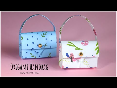 How To Make Paper Handbag? Origami Paper Bag Tutorial Step by Step EASY