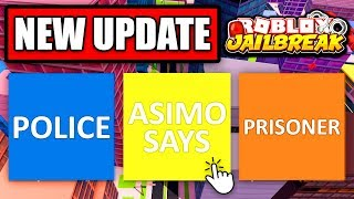 Jailbreak LIVE 🔴 ROBLOX EMOTES UPDATE! NEW EMOTES & DANCES! | ASIMO SAYS 4 ROBUX | Roblox Jailbreak