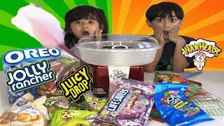 Cotton Candy Challenge with Hard Candy 2019 Jolly Rancher Lifesavers Sour Candies