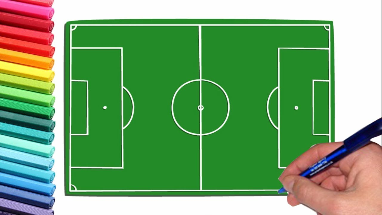 How To Draw A Soccer Field Very Easy Youtube