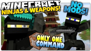 NINJAS IN MINECRAFT | Smoke Bombs, Shuriken & More | Only One Command (Minecraft Vanilla Mod)