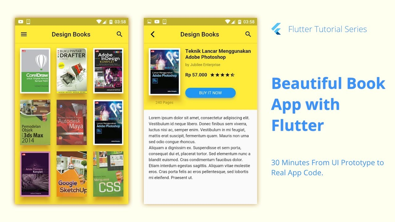 Beautiful Book App UI Tutorial from Prototype to Real Code with Flutter