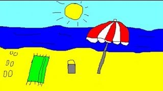 Drawings for children - painting a beach for kids