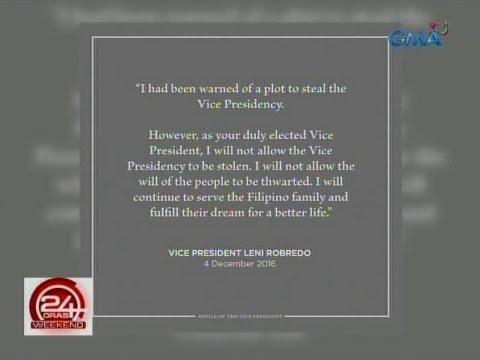 24 Oras: VP Leni Robredo, magbibitiw bilang miyembro ng gabinete ni Pres. Duterte