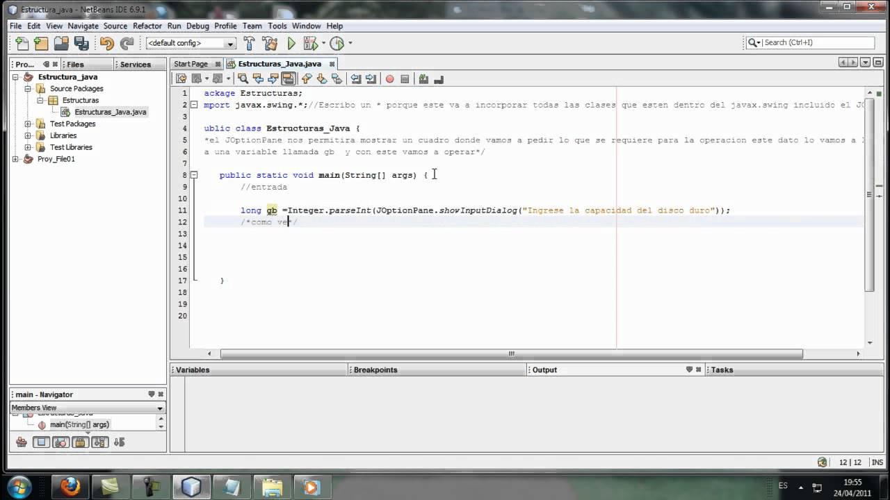 Estructuras Secuenciales En Java Net Beans 6 9 Youtube