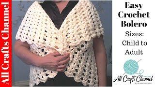 Easy crochet Bolero All Sizes child to Adult - Yolanda Soto Lopez
