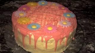 Бисквитный торт с кремом. Клубничный торт. Бисквит для торта.