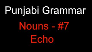 Punjabi Grammar: Nouns #7 - Echo Words