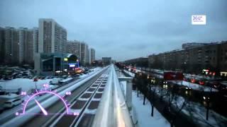 Из кабины московского монорельса (HD, 50 fps, x4)