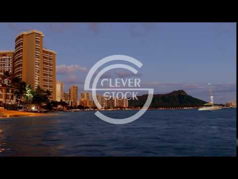 Buildings Sea Dusk Footage Travel Honolulu Waikiki Beach Vacation Tourism Hawaii Island Modern