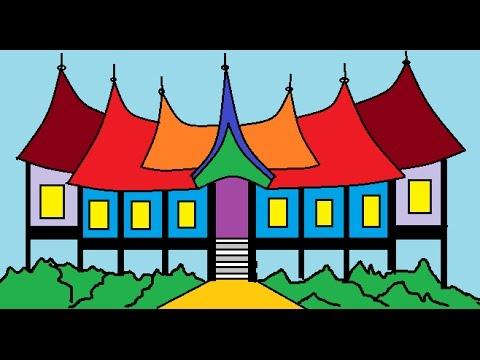Menggambar Rumah Gadang Minangkabau