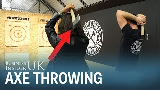 We went to an urban axe throwing class