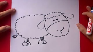 Como dibujar una oveja paso a paso | How to draw a sheep