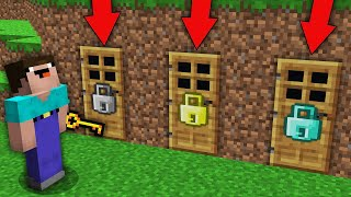 Minecraft NOOB vs PRO: WHICH DOOR CAN WILL OPEN NOOB THIS RAREST KEY? Challenge 100% trolling